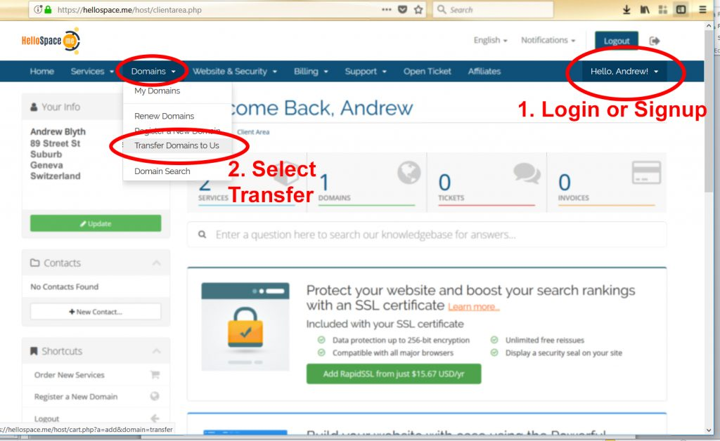 Transferring your Domain from your Old Webhost