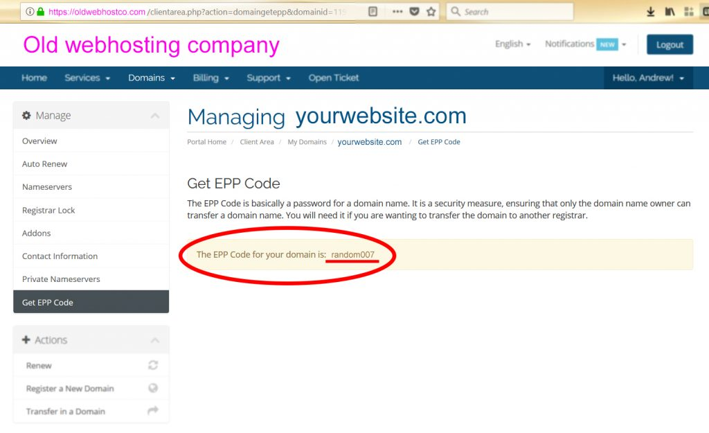 Transfering a Domain from Old Webhost EPP Code